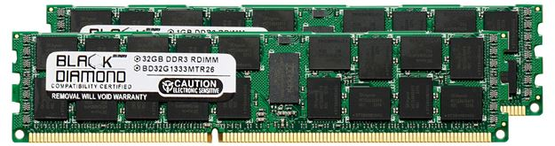 Picture of 64GB Kit (2x32GB) (4Rx4) DDR3 1333 (PC3-10600) ECC Registered Memory 240-pin