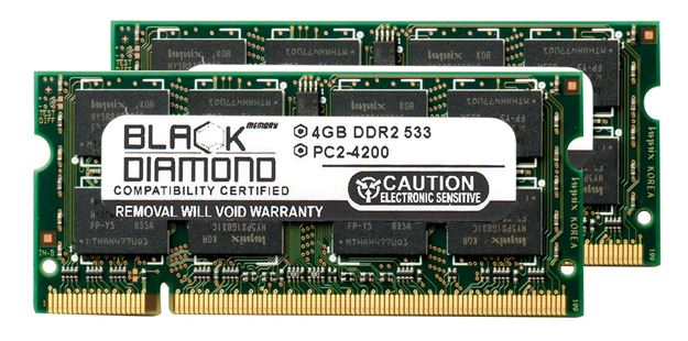 Picture of 8GB Kit (2x4GB) DDR2 533 (PC2-4200) SODIMM Memory 200-pin (2Rx8)